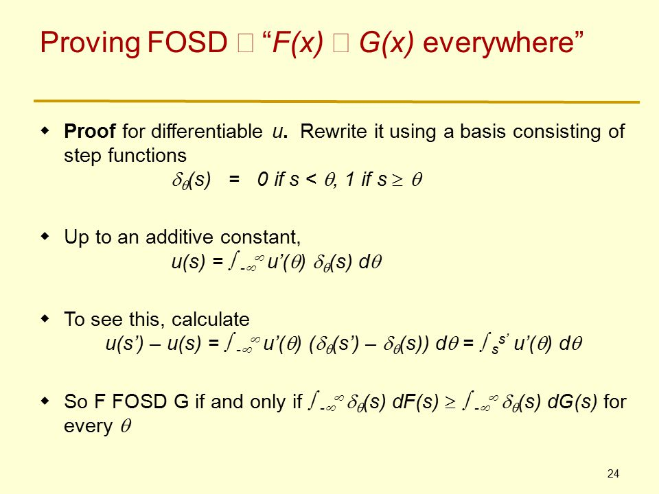 24 Proving FOSD  F(x)  G(x) everywhere  Proof for differentiable u.