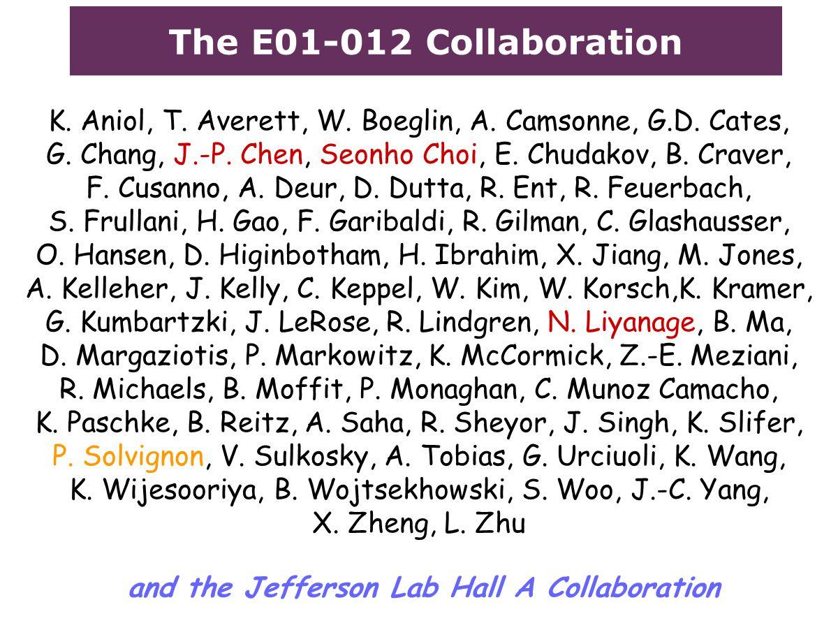 The E01-012 Collaboration K. Aniol, T. Averett, W.
