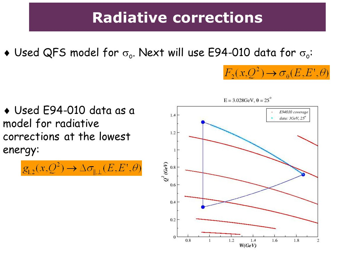 Radiative corrections  Used QFS model for  o. Next will use E94-010 data for  o :  Used E94-010 data as a model for radiative corrections at the l