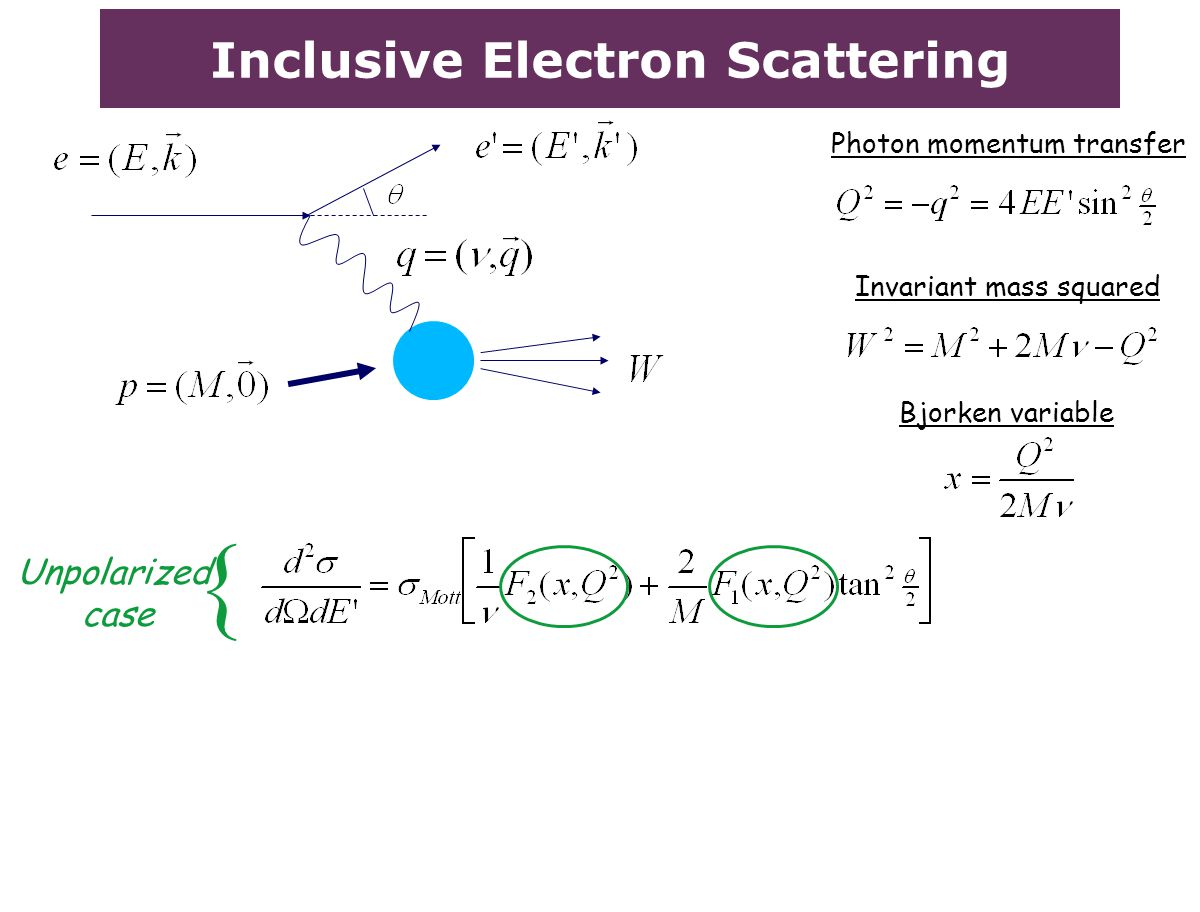 Inclusive Electron Scattering Invariant mass squared Bjorken variable Unpolarized case { Photon momentum transfer