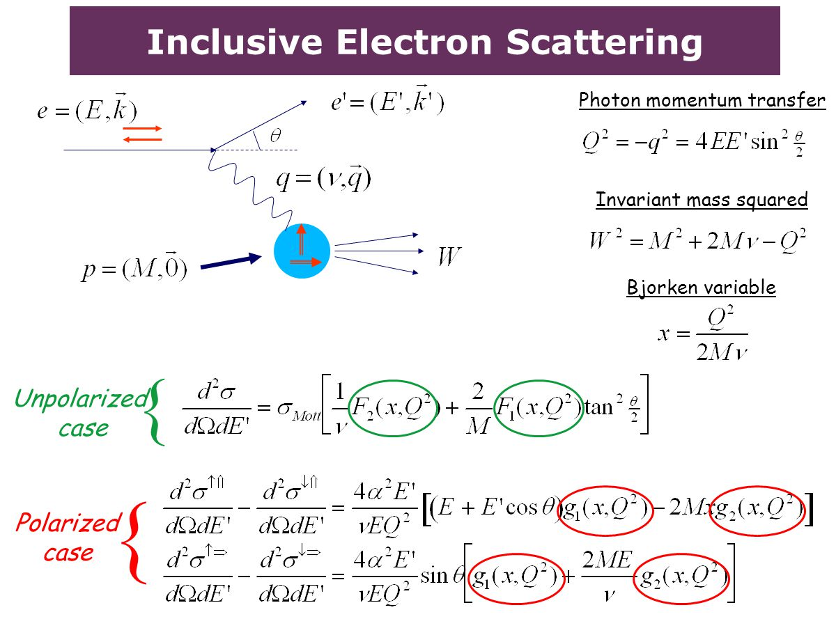 Inclusive Electron Scattering Invariant mass squared Bjorken variable Unpolarized case Polarized case { { Photon momentum transfer