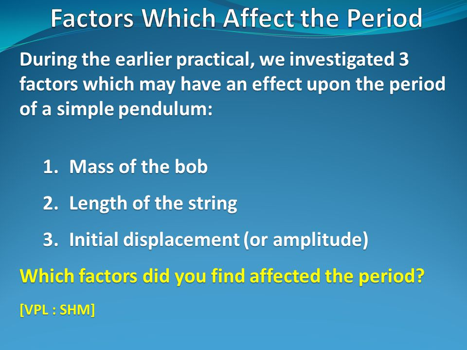 During the earlier practical, we investigated 3 factors which may have an effect upon the period of a simple pendulum: 1.Mass of the bob 2.Length of the string 3.Initial displacement (or amplitude) Which factors did you find affected the period.