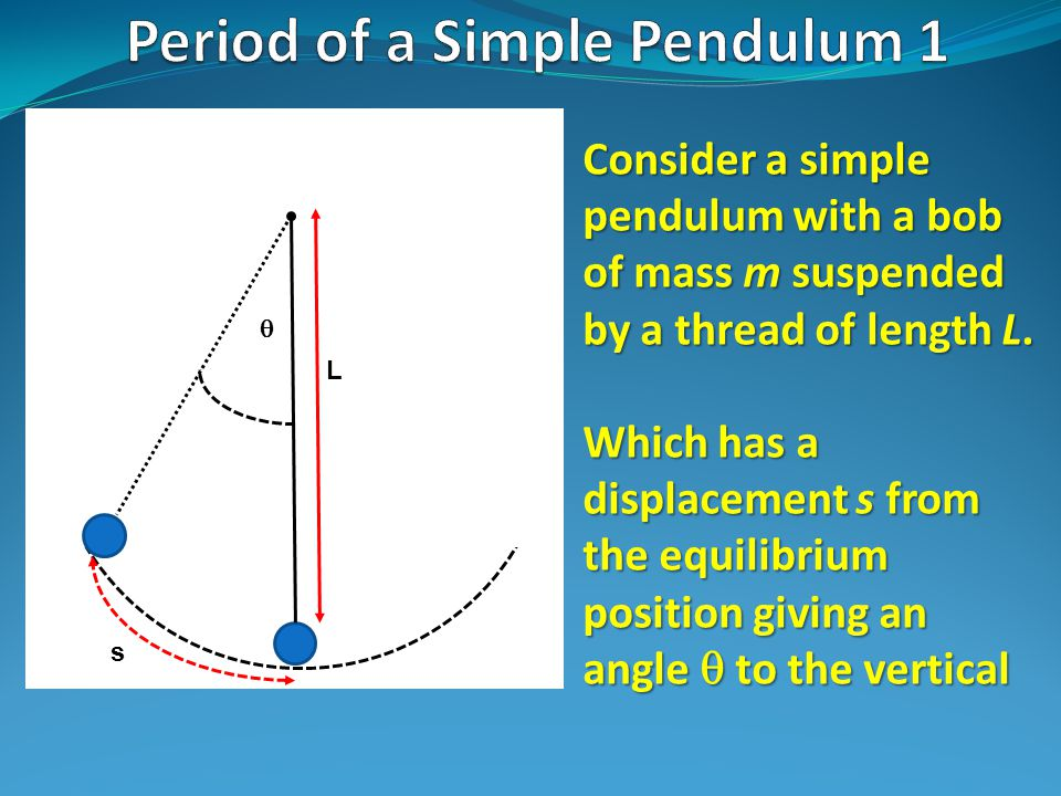 L  Consider a simple pendulum with a bob of mass m suspended by a thread of length L.