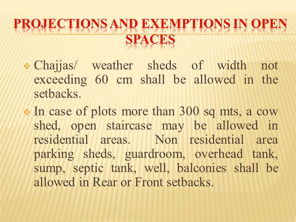  Chajjas/ weather sheds of width not exceeding 60 cm shall be allowed in the setbacks.