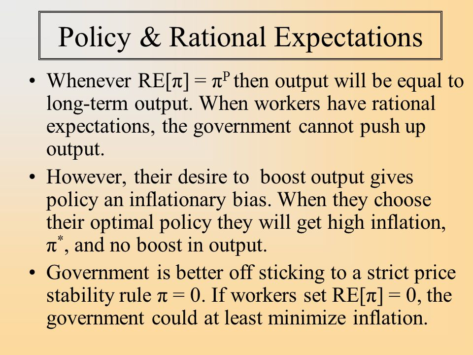 Policy & Rational Expectations Whenever RE[π] = π P then output will be equal to long-term output.