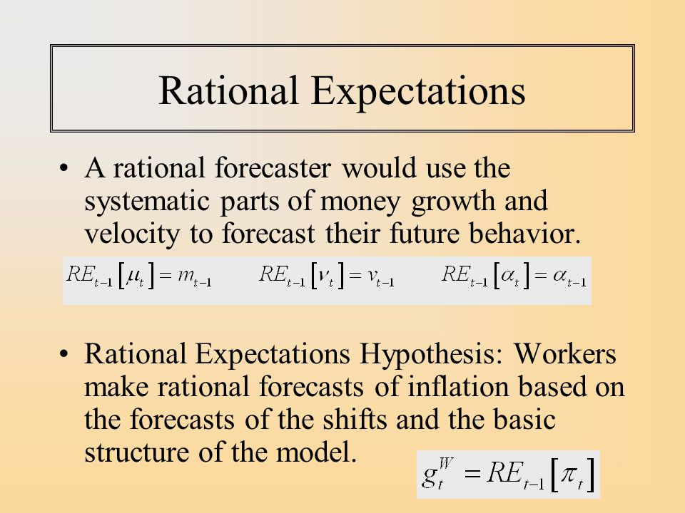 Rational Expectations A rational forecaster would use the systematic parts of money growth and velocity to forecast their future behavior.