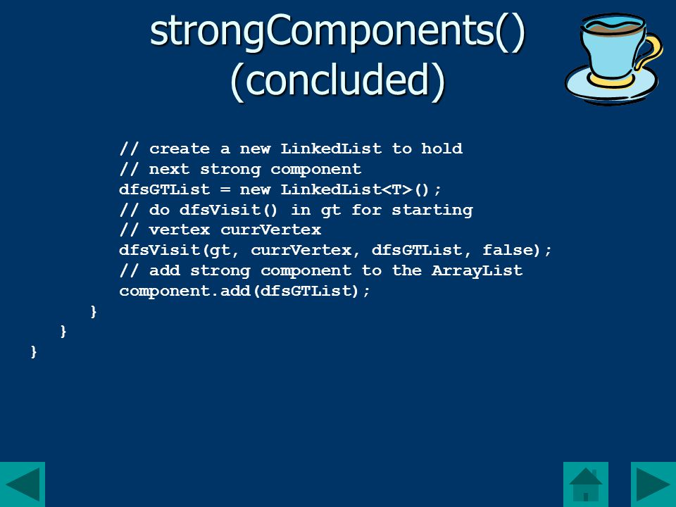 strongComponents() (concluded) // create a new LinkedList to hold // next strong component dfsGTList = new LinkedList (); // do dfsVisit() in gt for starting // vertex currVertex dfsVisit(gt, currVertex, dfsGTList, false); // add strong component to the ArrayList component.add(dfsGTList); }
