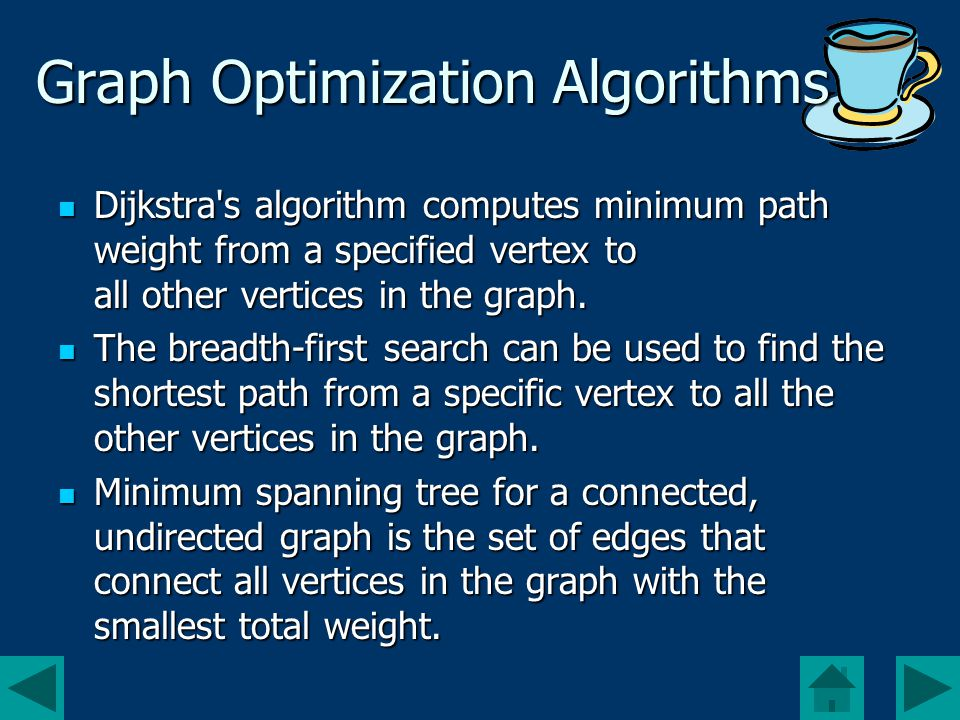Graph Optimization Algorithms Dijkstra s algorithm computes minimum path weight from a specified vertex to all other vertices in the graph.