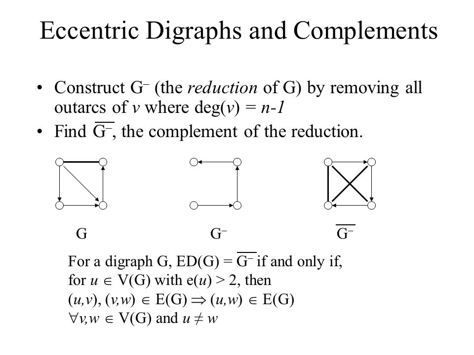 Eccentric Digraphs and Complements Construct G – (the reduction of G) by removing all outarcs of v where deg(v) = n-1 Find G –, the complement of the