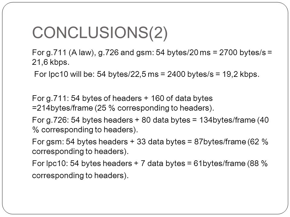 CONCLUSIONS(2) For g.711 (A law), g.726 and gsm: 54 bytes/20 ms = 2700 bytes/s = 21,6 kbps.