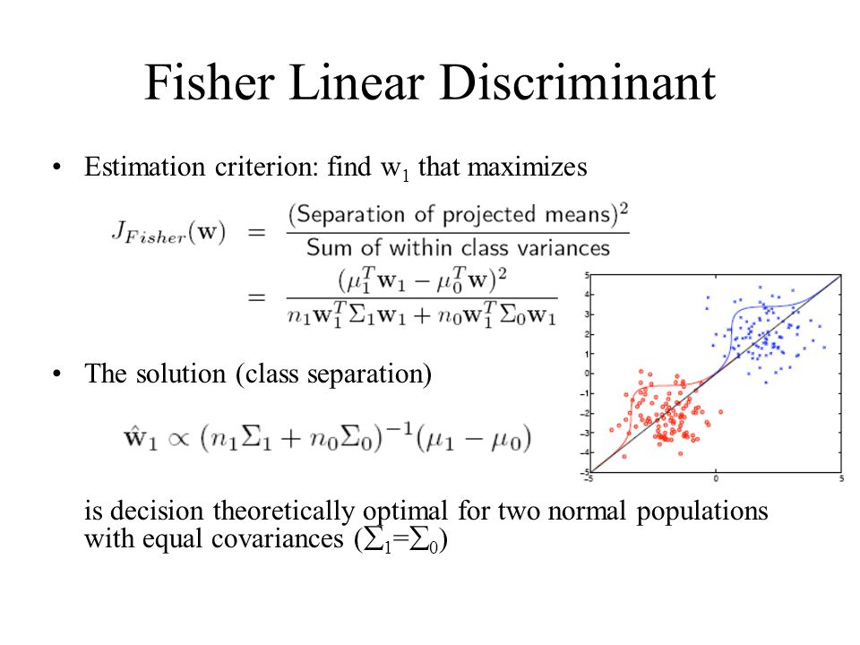 Fisher Linear Discriminant Estimation criterion: find w 1 that maximizes The solution (class separation) is decision theoretically optimal for two normal populations with equal covariances (  1 =  0 )