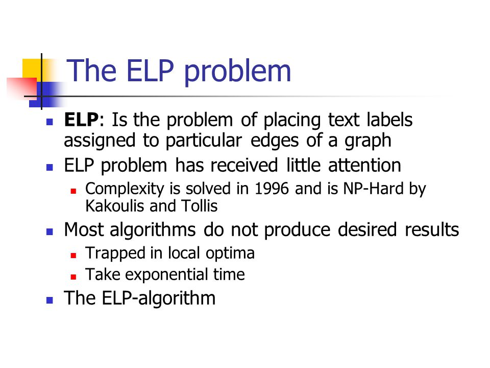 The ELP problem ELP: Is the problem of placing text labels assigned to particular edges of a graph ELP problem has received little attention Complexity is solved in 1996 and is NP-Hard by Kakoulis and Tollis Most algorithms do not produce desired results Trapped in local optima Take exponential time The ELP-algorithm