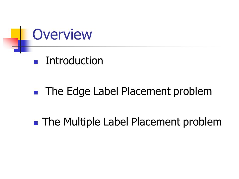 Introduction Automated label placement originates from the Cartography Many years of research Three types: Point labeling Line labeling Area labeling