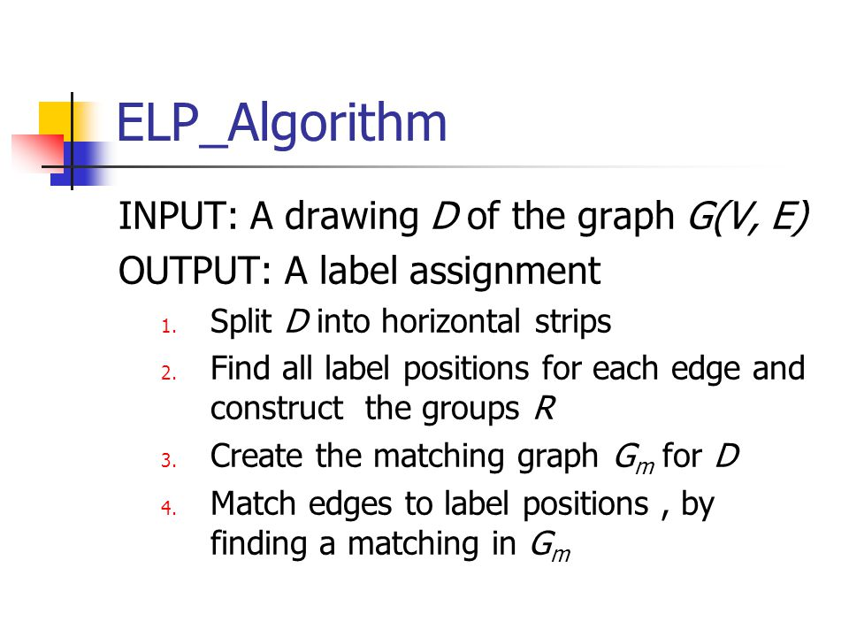 ELP_Algorithm INPUT: A drawing D of the graph G(V, E) OUTPUT: A label assignment 1.