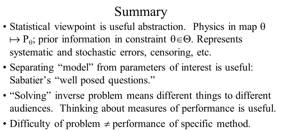 Summary Statistical viewpoint is useful abstraction.
