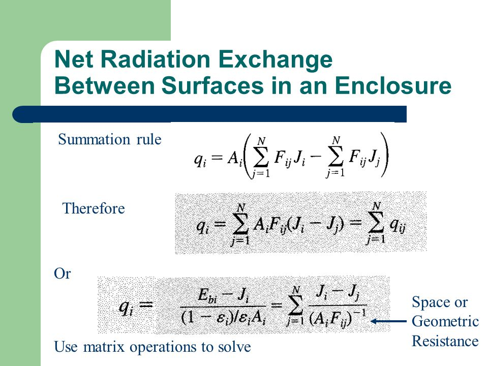 Net Radiation Exchange Between Surfaces in an Enclosure Summation rule Therefore Or Use matrix operations to solve Space or Geometric Resistance