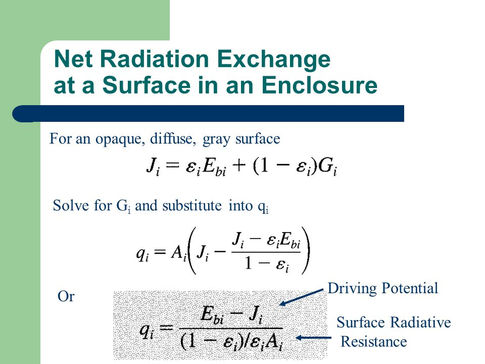 Net Radiation Exchange at a Surface in an Enclosure For an opaque, diffuse, gray surface Solve for G i and substitute into q i Or Driving Potential Surface Radiative Resistance