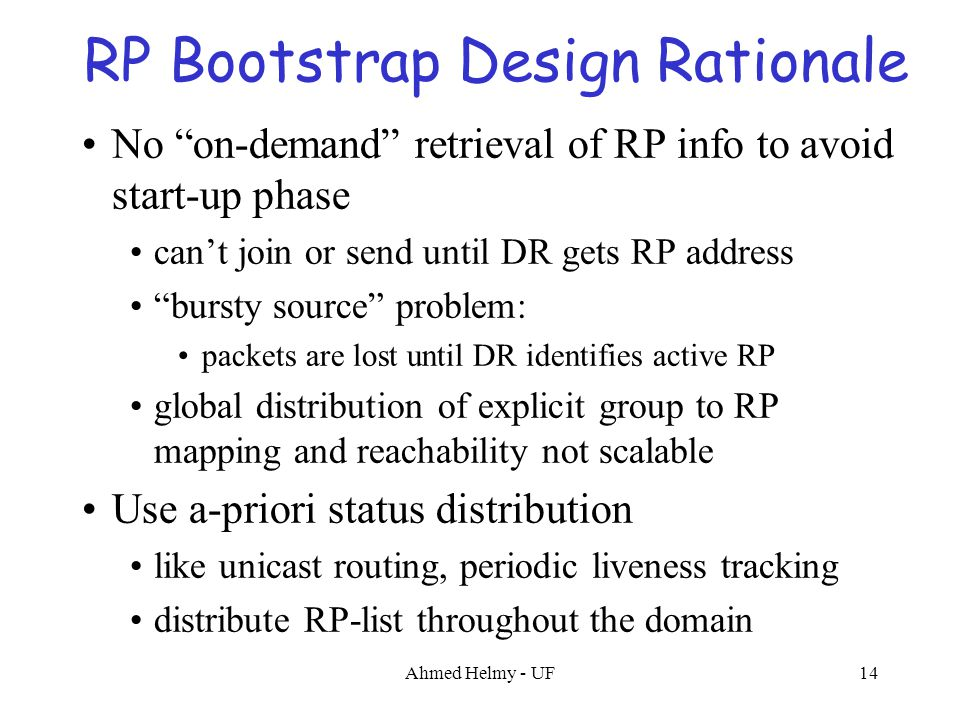 "Ahmed Helmy - UF14 RP Bootstrap Design Rationale No ""on-demand"" retrieval of RP info to avoid start-up phase can't join or send until DR gets RP addre"