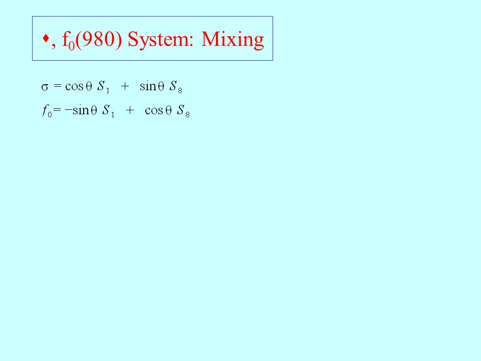 , f 0 (980) System: Mixing