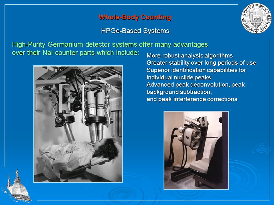 Whole-Body Counting HPGe-Based Systems High-Purity Germanium detector systems offer many advantages over their NaI counter parts which include: More robust analysis algorithms Greater stability over long periods of use Superior identification capabilities for individual nuclide peaks Advanced peak deconvolution, peak background subtraction, and peak interference corrections
