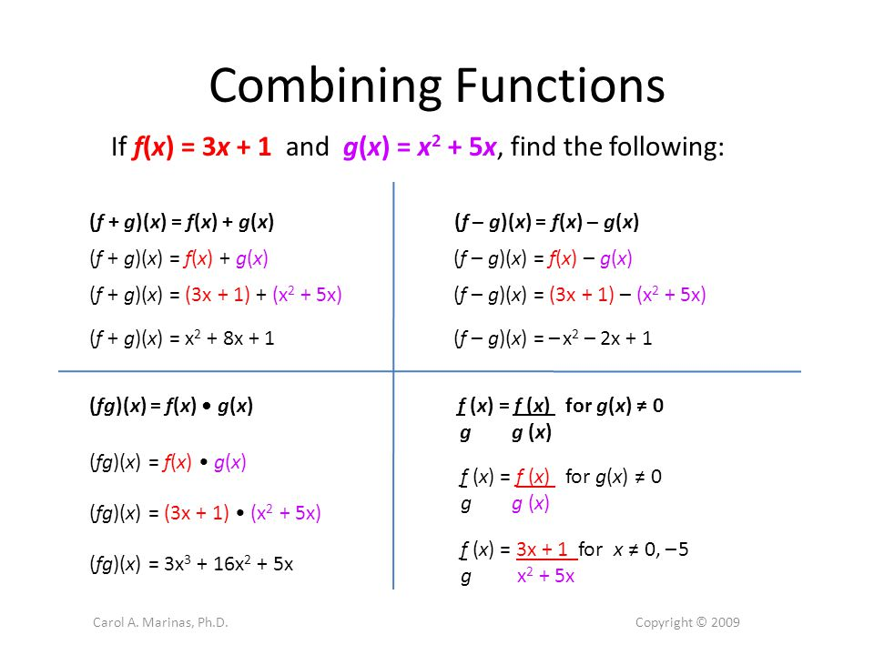 Composition of Functions The composition combines two functions by applying one function to a number and then applying the other function to the result.