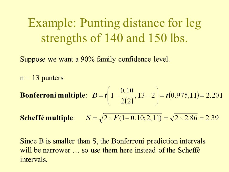 Example: Punting distance for leg strengths of 140 and 150 lbs. n = 13 punters Bonferroni multiple: Suppose we want a 90% family confidence level. Sch