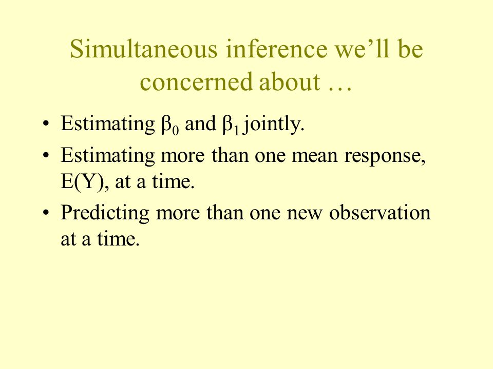Why simultaneous inference is important A 95% confidence interval implies a 95% chance that the interval contains β 0.
