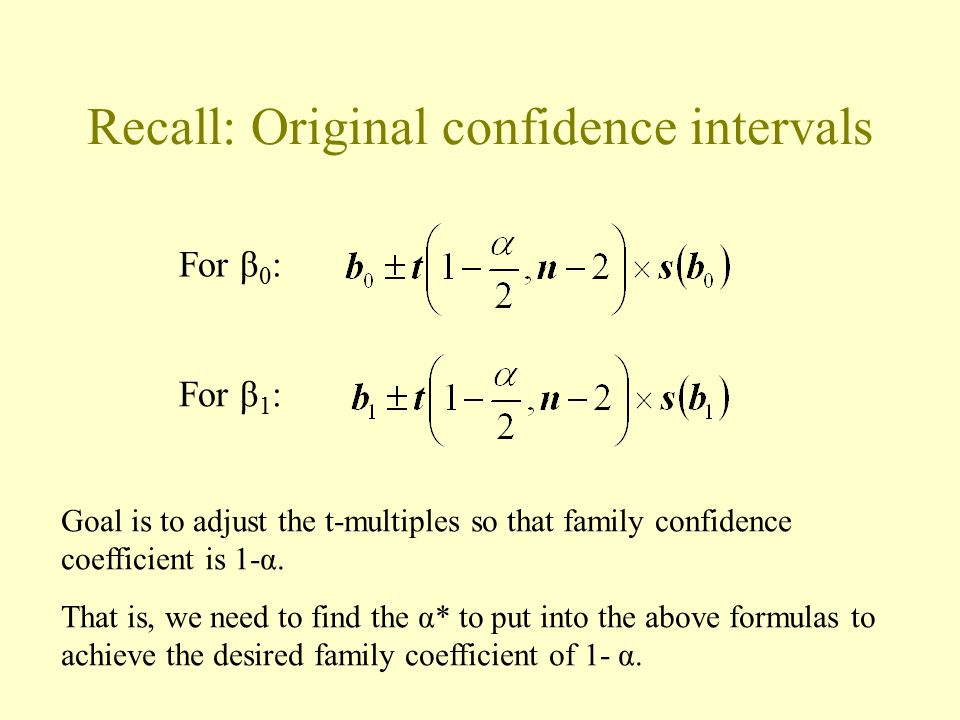 Scheffé intervals for predicting more than one new obs'n at a time To predict g new observations Y h for g different X h values with family confidence coefficient 1-α: where: g is the number of prediction intervals in the family