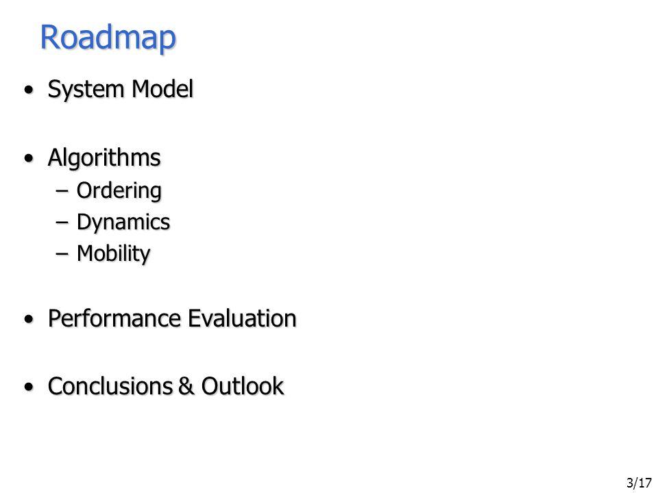 Sven Bittner - Ordering in Mobile Networks Using Integrated Sequencers 3/17 Roadmap System ModelSystem Model AlgorithmsAlgorithms –Ordering –Dynamics