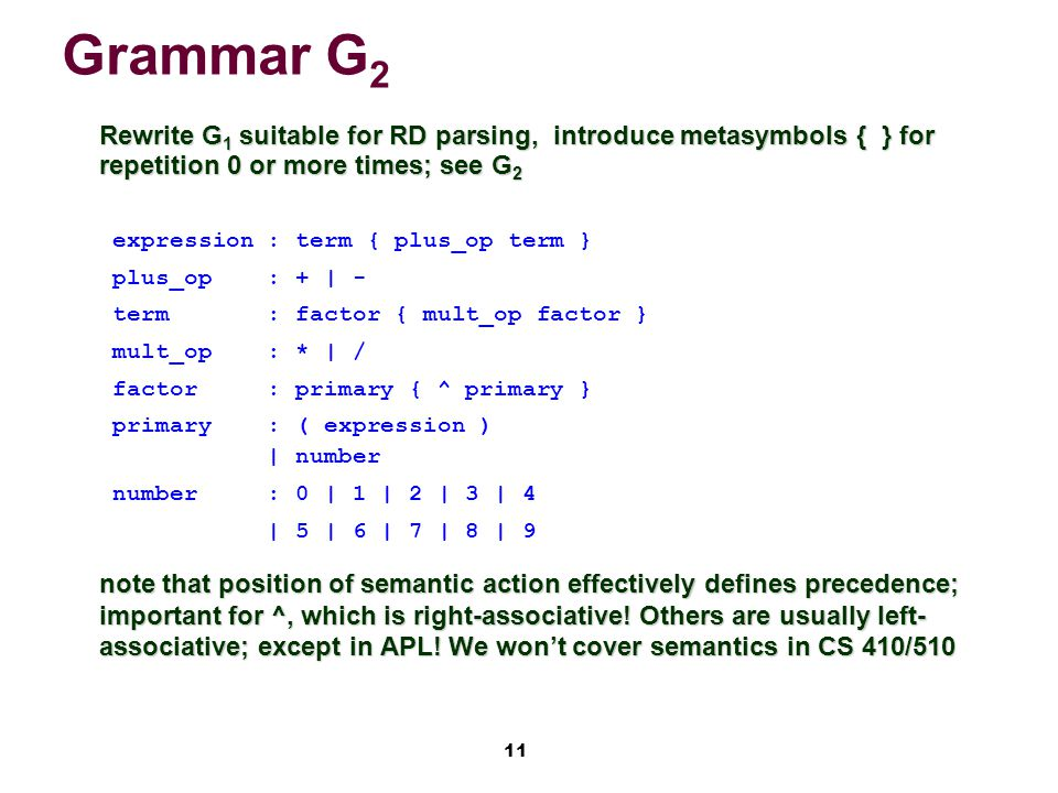 11 Grammar G 2 Rewrite G 1 suitable for RD parsing, introduce metasymbols { } for repetition 0 or more times; see G 2 Rewrite G 1 suitable for RD parsing, introduce metasymbols { } for repetition 0 or more times; see G 2 expression: term { plus_op term } plus_op: + | - term : factor { mult_op factor } mult_op: * | / factor: primary { ^ primary } primary: ( expression ) | number number: 0 | 1 | 2 | 3 | 4 | 5 | 6 | 7 | 8 | 9 note that position of semantic action effectively defines precedence; important for ^, which is right-associative.