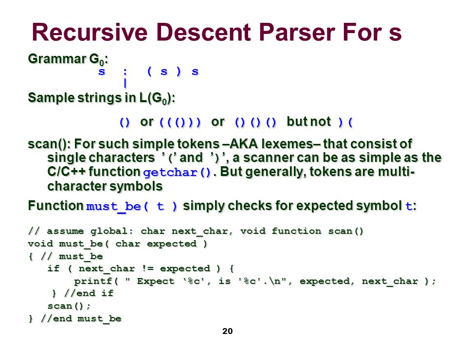20 Recursive Descent Parser For s Grammar G 0 : s:( s ) s | Sample strings in L(G 0 ): () or ((())) or ()()() but not )( scan(): For such simple tokens –AKA lexemes– that consist of single characters '(' and ')', a scanner can be as simple as the C/C++ function getchar().
