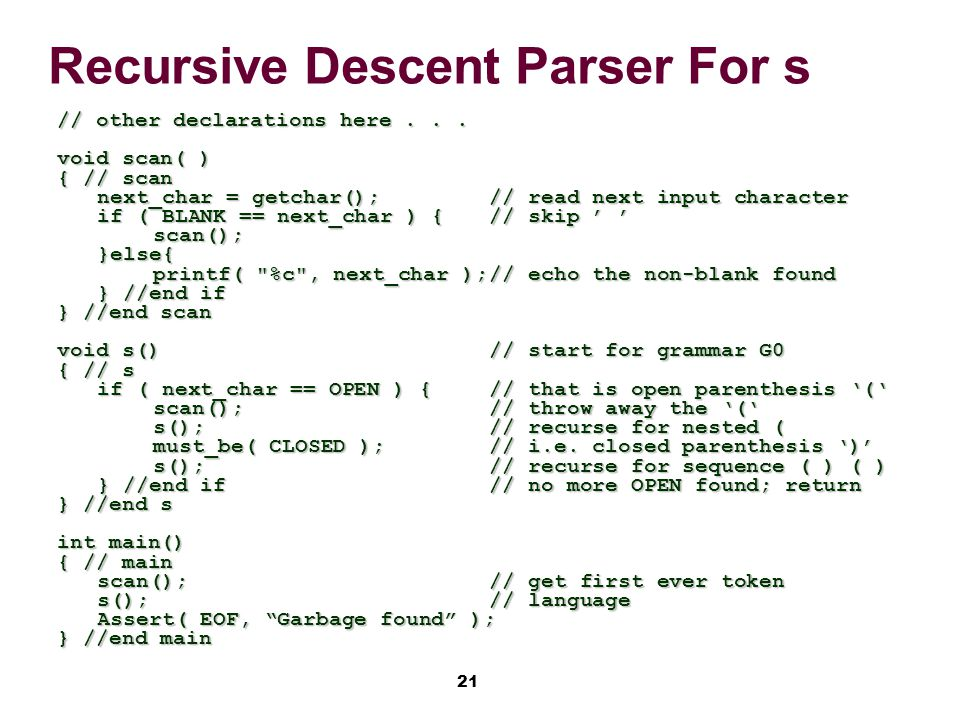 21 Recursive Descent Parser For s // other declarations here...