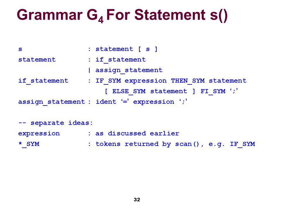 32 Grammar G 4 For Statement s() s: statement [ s ] statement: if_statement | assign_statement if_statement: IF_SYM expression THEN_SYM statement [ ELSE_SYM statement ] FI_SYM ';' assign_statement: ident '=' expression ';' -- separate ideas: expression: as discussed earlier *_SYM: tokens returned by scan(), e.g.