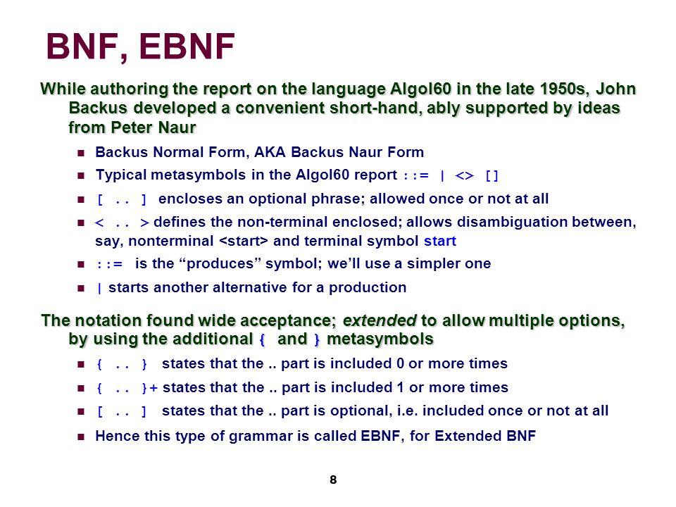 9 A Sample Ambiguous Grammar G 1 Metasymbol : means produces Metasymbol | means r.h.s.