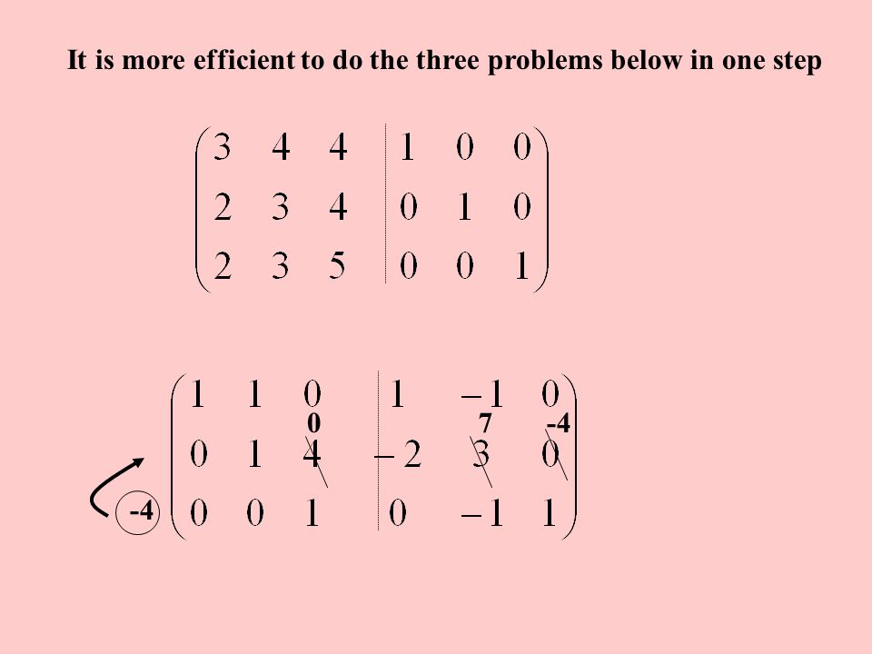 It is more efficient to do the three problems below in one step -2 0 1 3