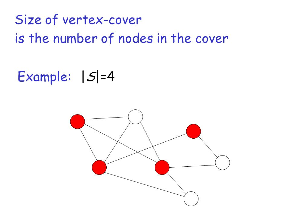 |S|=4Example: Size of vertex-cover is the number of nodes in the cover