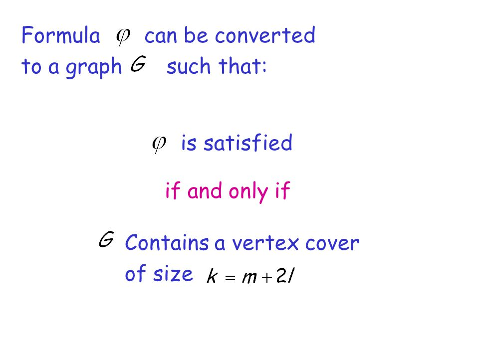 Formula can be converted to a graph such that: is satisfied if and only if Contains a vertex cover of size