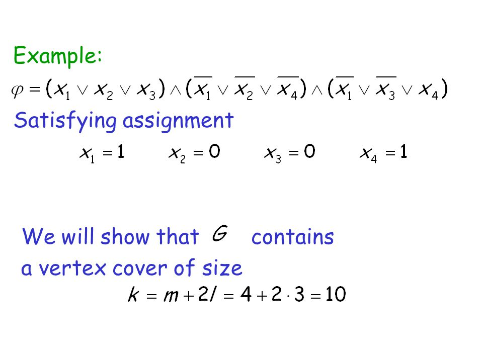 Satisfying assignment Example: We will show that contains a vertex cover of size