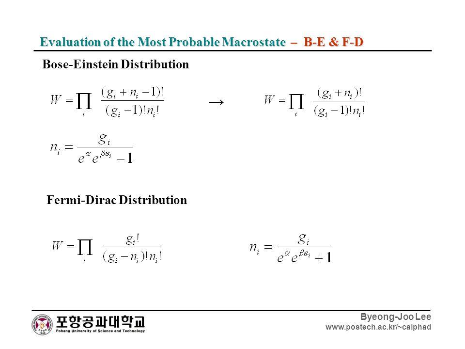 Byeong-Joo Lee www.postech.ac.kr/~calphad Evaluation of the Most Probable Macrostate – B-E & F-D → Bose-Einstein Distribution Fermi-Dirac Distribution