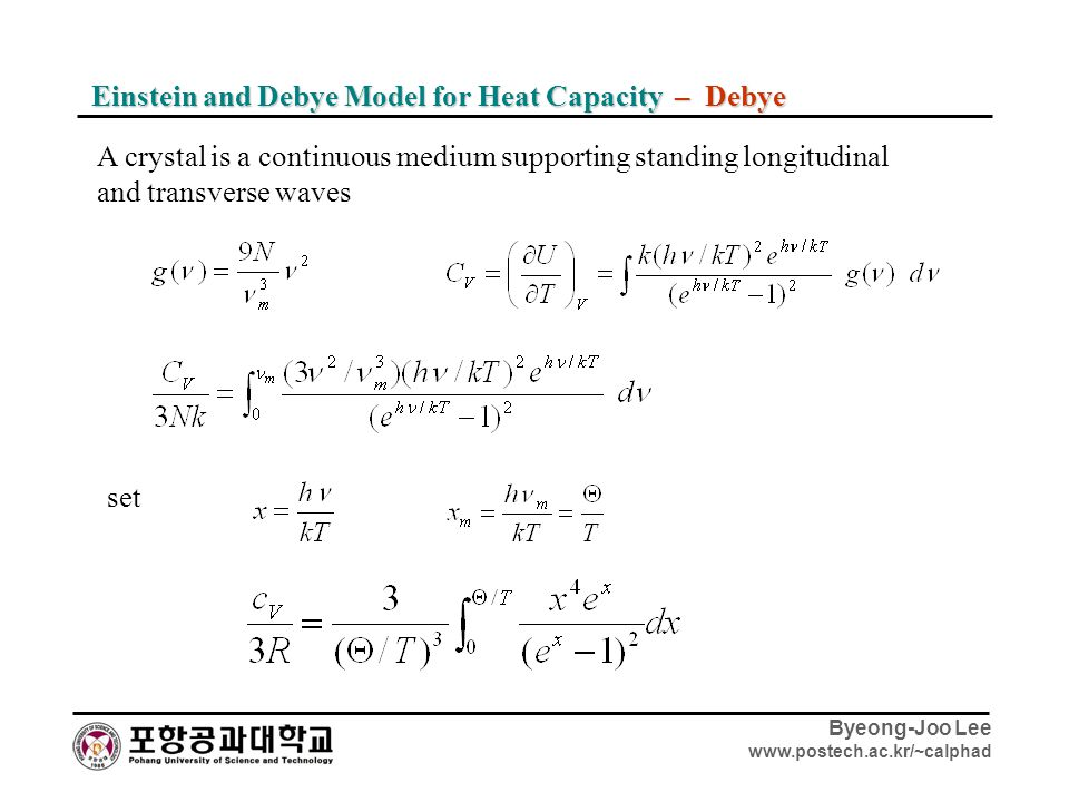 Byeong-Joo Lee www.postech.ac.kr/~calphad Einstein and Debye Model for Heat Capacity – Debye A crystal is a continuous medium supporting standing long