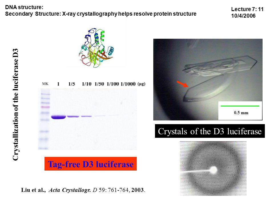 (μg) Tag-free D3 luciferase Liu et al., Acta Crystallogr.