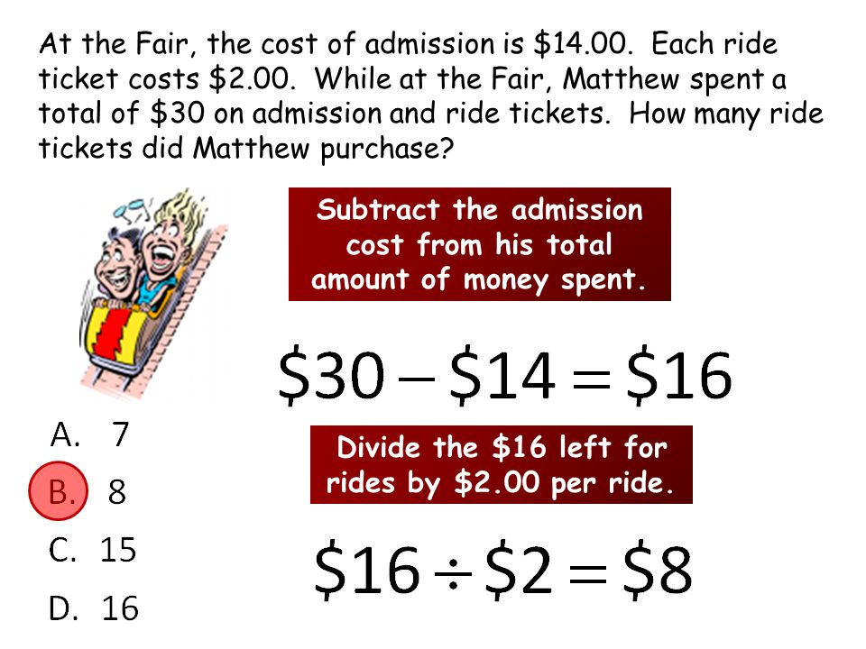 At the Fair, the cost of admission is $14.00. Each ride ticket costs $2.00.