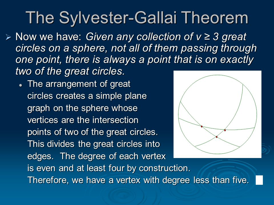 The Sylvester-Gallai Theorem  Now we have: Given any collection of v ≥ 3 great circles on a sphere, not all of them passing through one point, there is always a point that is on exactly two of the great circles.