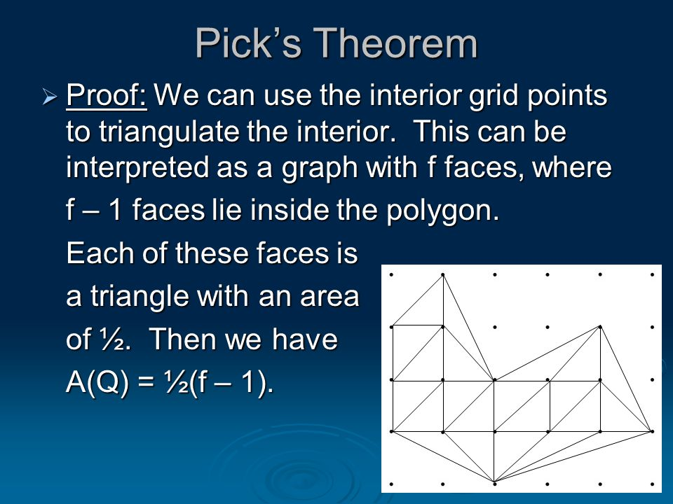 Pick's Theorem  Proof: We can use the interior grid points to triangulate the interior.