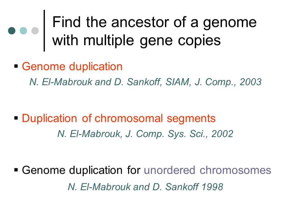 Find the ancestor of a genome with multiple gene copies  Genome duplication N.