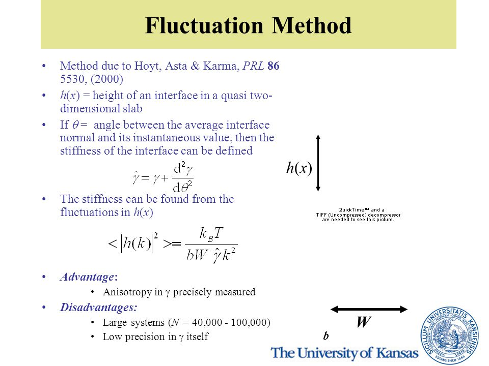 Fluctuation Method Method due to Hoyt, Asta & Karma, PRL 86 5530, (2000) h(x) = height of an interface in a quasi two- dimensional slab If  = angle between the average interface normal and its instantaneous value, then the stiffness of the interface can be defined The stiffness can be found from the fluctuations in h(x) Advantage: Anisotropy in  precisely measured Disadvantages: Large systems (N = 40,000 - 100,000) Low precision in  itself h(x)h(x) W b