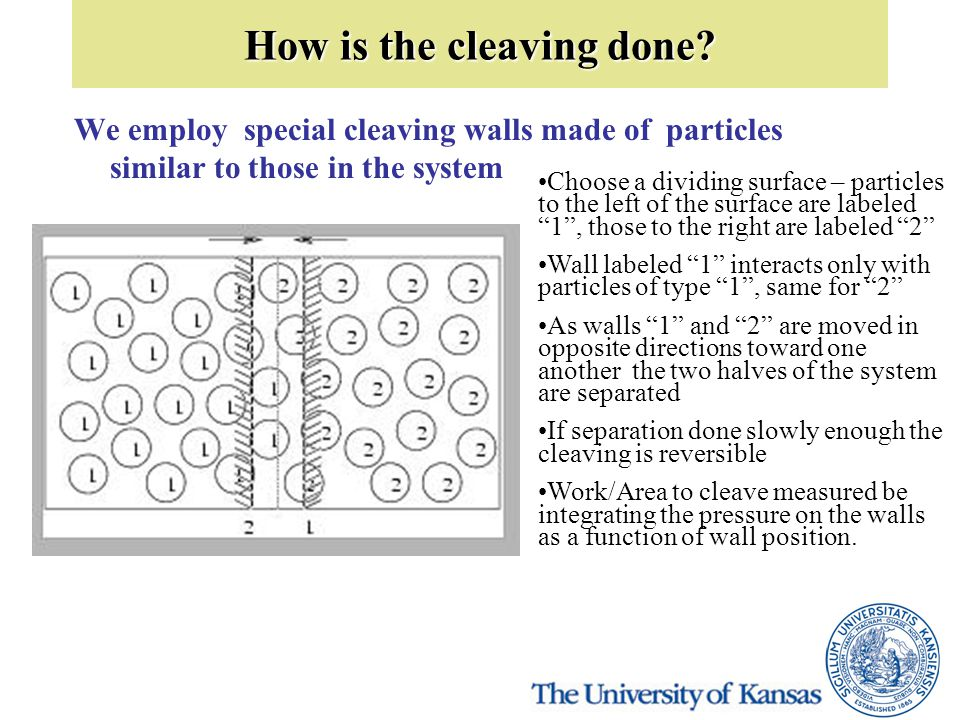 How is the cleaving done? We employ special cleaving walls made of particles similar to those in the system Choose a dividing surface – particles to t