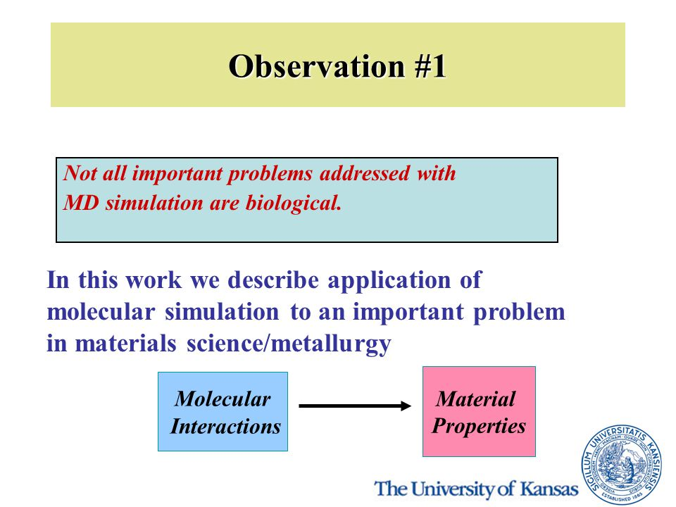 Observation #1 Not all important problems addressed with MD simulation are biological. In this work we describe application of molecular simulation to
