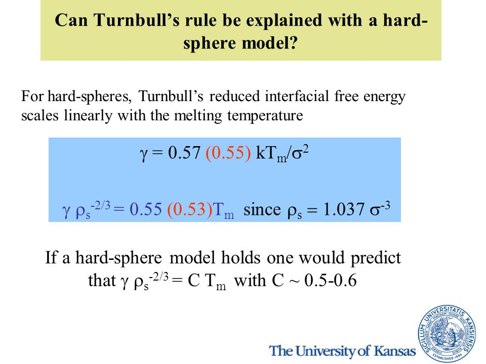Can Turnbull's rule be explained with a hard- sphere model? For hard-spheres, Turnbull's reduced interfacial free energy scales linearly with the melt
