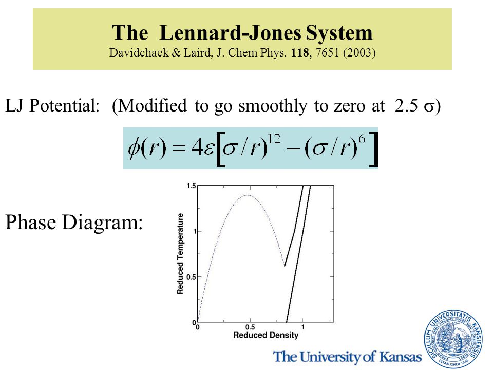 The Lennard-Jones System Davidchack & Laird, J. Chem Phys. 118, 7651 (2003) LJ Potential: (Modified to go smoothly to zero at 2.5  Phase Diagram: